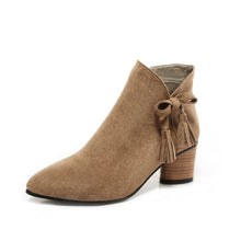 Load image into Gallery viewer, Ankle Boots for Women Medium Heel Tassel Sheep Suede Autumn Winter Pointed Toe Shoes Woman 7426