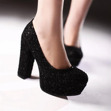 Load image into Gallery viewer, Lace Round Toe Women Platform Chunky Heel Pumps High Heels Shoes Woman