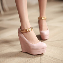 Load image into Gallery viewer, Women Wedges Pu Leather Ankle Straps Chains High Heels Platform Shoes 3527