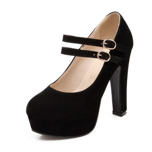 Round Toe Mary Janes Platform Sandals High Heels 2610