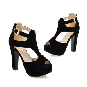Peep Toe Buckle T Straps Platform Sandals High Heels 8192