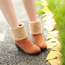 Load image into Gallery viewer, Women Wedges Ankle Boots Lamb Wool Platform Shoes Woman 2016 3478