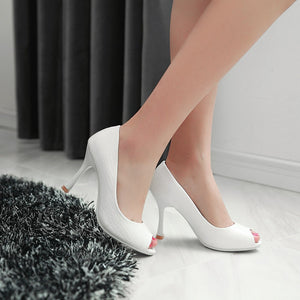 Womens High Heel Shoes Peep Toes Stone Pattern Lady Pumps Party Dress Shoes