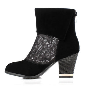 Women Ankle Boots Black Lace High Heels Zipper Rhinestone Shoes Woman 2016 3550
