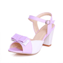Load image into Gallery viewer, Women Sandals Peep Toes Ankle Straps Bow Pumps High-heeled Shoes