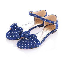 Load image into Gallery viewer, Polka Dot Bow Ankle Strap Flat Sandals 2755