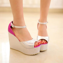 Load image into Gallery viewer, Ankle Straps Platform Sandals Mixed Colors Wedges Shoes Woman