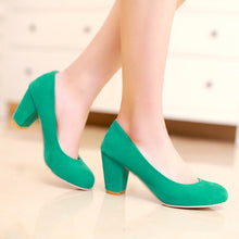 Load image into Gallery viewer, Round Toe Women Chunky Heel Pumps High Heels Dress Shoes Woman