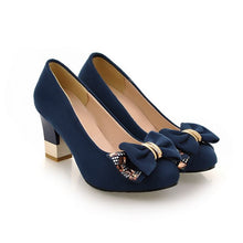 Load image into Gallery viewer, Bowtie Rhinestone Women Pumps Artificial Suede High Heels Shoes Woman