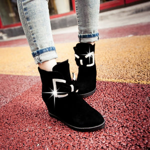 Women Ankle Boots Rhinestone Bowtie Wedges Shoes Woman 2016 3513
