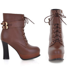 Load image into Gallery viewer, Black and Brown Motorcycle Boots Lace Up Buckle High Heels Platform Shoes Woman