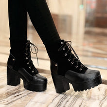 Load image into Gallery viewer, Lace Up Motorcycle Boots Platform Patchwork High Heels Women Shoes