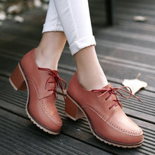 Load image into Gallery viewer, Women Pumps High Heels Thick Heeled Lace Up Shoes Woman 3536