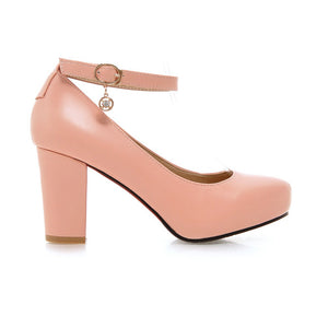 Ankle Straps Women Chunky Heel Pumps Platform High Heels Dress Shoes