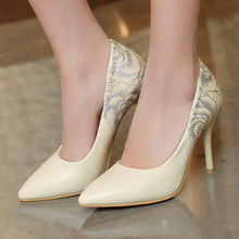 Load image into Gallery viewer, Womens High Heel Shoes Pointed Toe Flower Printed Lady Pumps Party Dress Shoes