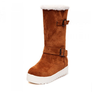 Fur Snow Boots Mid Calf Boots Winter Buckle Platform Shoes Woman 3282 3282