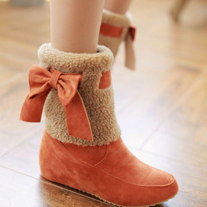 Bowtie Snow Boots Wedges Winter Shoes Woman