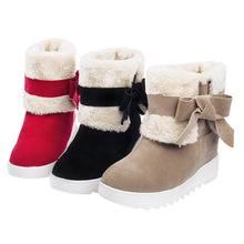 Load image into Gallery viewer, Bowtie Fur Snow Boots Platform High Heels Winter Shoes Woman 3320 3320