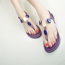 Load image into Gallery viewer, Beads Flats Sandals Women T Straps Shoes Woman