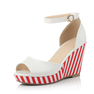 Striped Platform Sandals Women Wedges Ankle Straps Shoes Woman
