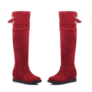 Slik Knot Knee High Boots Wedges Platform Shoes Woman