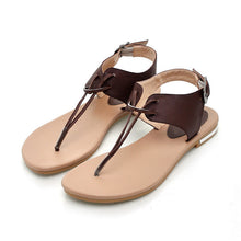 Load image into Gallery viewer, Buckle Genuine Leather Flat Sandals Flip Flops 1648