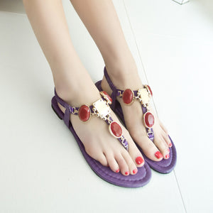 Beads Flats Sandals Women T Straps Shoes Woman