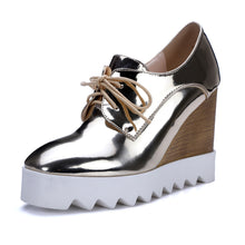 Load image into Gallery viewer, Women Wedges Patent Leather Lace Up High Heels Pumps Platform Shoes 1149