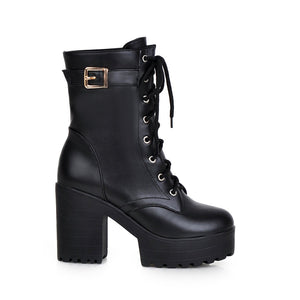 Lace Up Buckle Ankle Boots High Heels Women Shoes 3231