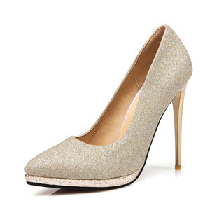Sey Pointed Toe Platform Stiletto Heel Ultra High Heels Wedding Shoes 4298
