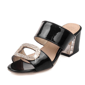 Women Slipper Pumps Rhinestone High-heeled Shoes