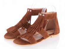 Load image into Gallery viewer, Tassel Gladiator Sandals with Studded Women Shoes