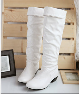 Knee High Boots PU Leather Rubber Sole Women Shoes