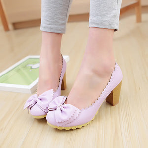 Bowtie Women Chunky Heel Pumps High Heels Platform Shoes Woman