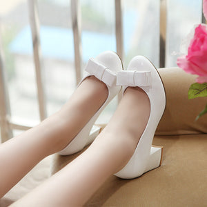 Women Pumps Bowtie High Heels Round Toe Thick Heeled Dress Shoes Woman 3413