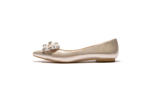 Women Flats with Rhinestone Bow Pointed Toe Dress Shoes