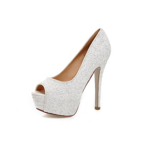 Sexy Peep Toes Glitter Pumps Platform High Heels Fashion Women Shoes 6374