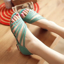 Load image into Gallery viewer, Women Pu Leather Gladiator Sandals Flats Low Wedge Heel 7840