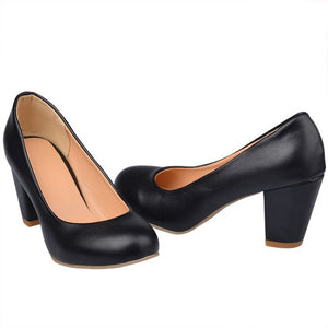Women High Heels Dress Shoes Chunky Heel Pumps 6516