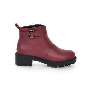 Buckle Pu Leather Ankle Boots Women Shoes 76036543