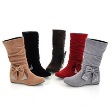 Load image into Gallery viewer, Bow Rhinestone Women Boots Wedges Heels Shoes 7885