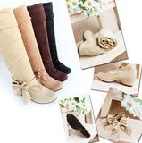 Artificial Suede Bowtie Thigh High Boots Elastic Wedges Shoes Woman 3312 3312
