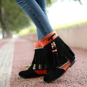 Tassel Ankle Boots Boheimia Wedges Women Shoes