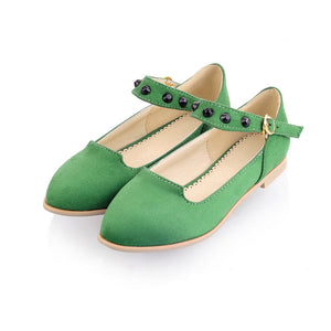 Studded Ankle Sraps Women Flat Shoes  7801