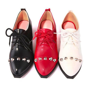 Women Pumps Studded Lace Up Low Heeled Shoes Woman 3539