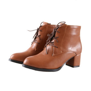 Women Ankle Boots Lace Up Motorcycle Boots Thick Heeled Shoes Woman 2016 3573