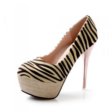 Load image into Gallery viewer, Zebra Striped Women Platform Pumps High Heels Stiletto Heel Shoes Woman