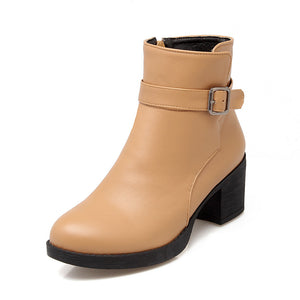 Women Ankle Boots High Heels Zipper Round Toe Thick Heeled Buckle Shoes Woman 7580
