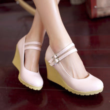 Load image into Gallery viewer, Buckle Women Wedges Soft Leather Pumps Platform Shoes 3405