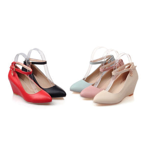 Ankle Straps Women Wedges Pointed Toe Buckle Platform Shoes